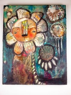 Whimsical Owls and Other Mixed Media Art From the Heart by Juliette Crane Lion Painting, Painting & Drawing, Mixed Media Painting, Mixed Media Art, Big Canvas Art, Fiber Art Jewelry, Art Nouveau Illustration, Whimsical Owl, Lion Art