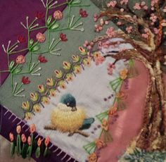 I ❤ crazy quilting & embroidery . . . For Karen Guthrie. Her theme in the RR, at the retreat last fall was Spring. So many choices. ..but, this is how it ended up. ~By Gayle Schipper