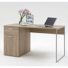 Marvin Computer Desk In Canadian Oak With 1 Drawer And 1 Door