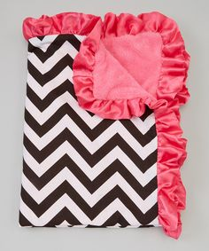 Look at this 25'' x 33'' Hot Pink & Black Chevron Stroller Blanket on #zulily today!