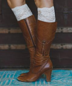 Look at this #zulilyfind! Champagne Lace Boot Cuffs by Three Bird Nest #zulilyfinds