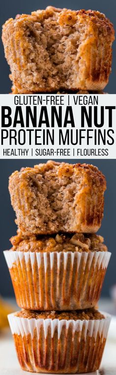 These clean eating banana oat protein muffins are made with nothing but the healthiest ingredients. They are gluten-free, egg-free, sugar-free, flourless and nut-free. There is even a vegan/dairy-free option available! This easy and healthy snack is perfect as a post-workout treat, lunchbox filler or for any time you need a quick protein boost! | onecleverchef.com #glutenfree #protein #sugarfree #proteinsnack #postworkout #onecleverchef