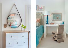 bedroom teen turquoise red white