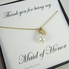 Personalized Initial Pendant, Maid of Honor card, pearl necklace,gold necklace,pearl teardrop necklace,gold fill necklace,Bridal party Gift