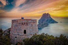 Sunset at the Pirates Tower — at Es Vedra , Ibiza #esvedra #ibiza