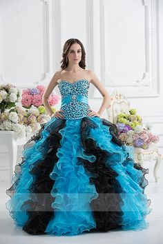 Morden Ball Gown Floor-length Sweetheart Zip-up Organza Blue Quinceanera Dresses