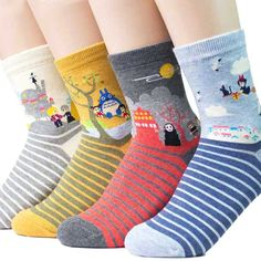 Give your outfit a little Studio Ghibli flair with these adorable socks featuring some of Miyazaki's most beloved characters. This 4-pack of women's socks provide a comfortable fit while displaying memorable scenes.