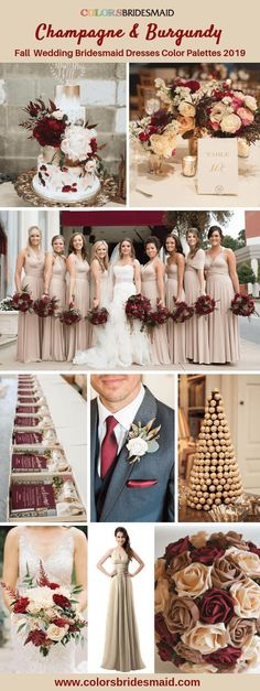 Fall wedding bridesmaid dresses color ideas for champagne bridesmaid dress. Fall wedding bridesmaid dresses color ideas for champagne bridesmaid dresses with wedding cakes, bouquets, centerp. Champagne Colored Bridesmaid Dresses, Champagne Wedding Colors, Burgundy Bridesmaid Dresses, Fall Wedding Colors, Bridesmaid Color, Wedding Ideas For Fall, Champagne Bridesmaids, Burgundy Wedding Theme, Wine Colored Wedding