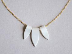 3 Porcelain Points - White Ceramic Necklace