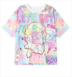 059529ebf24ca Online Shop 2016 weird style tie dye women t shirt Unicorn rainbow dash ice  cream Printed short sleeve kawaii t-shirt moletom women tops