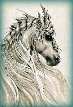 Embedded image permalink Fantasy Drawings, Horse Drawings, Animal Drawings, Fantasy Art, Art Drawings, Fantasy Creatures, Mythical Creatures, Horse Tattoo Design, Fire Horse