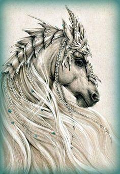 Embedded image permalink Horse Drawings, Animal Drawings, Art Drawings, Fantasy Creatures, Mythical Creatures, Horse Tattoo Design, Fire Horse, Horse Costumes, Drawn Art