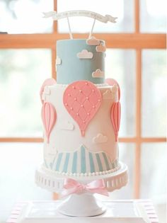 Up, Up and Away Baby Shower Cake by Jessica Harris. Cutest baby shower cake ever! Torta Baby Shower, Shower Baby, Bridal Shower, Baby Cakes, Pink Cakes, Hot Air Balloon Cake, Balloon Party, Air Ballon, Balloon Wedding