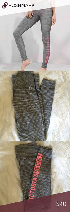 """🎉HP🎉 VS Everywhere Legging 🎉HOST PICK INSTA-CHIC PARTY🎉 VS Everywhere Legging XS Short l. Spacedye Grey & Pink Lettering. Worn 3-4 times, perfect condition. So comfy.  Flat waistband with silver angel wings graphic at one hip. Cotton/polyester/spandex. Inseam is approx. 26"""". Victoria's Secret Pants Leggings"""