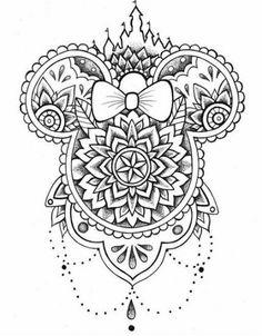 Disney Tattoos 94935 minnie mouse, black and white sketch, mandala back tattoo, white background Mandala Coloring, Colouring Pages, Adult Coloring Pages, Coloring Books, Disney Coloring Pages Printables, Coloring Bible, Mandalas Painting, Mandalas Drawing, Trendy Tattoos