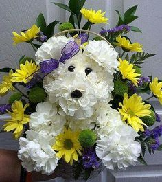 Order Puppy Love Bouquet from A & A Flowers, your local Oxford florist. For fresh and fast flower delivery throughout Oxford, MI area. Grave Flowers, Cemetery Flowers, Funeral Flowers, Silk Flowers, Funeral Flower Arrangements, Floral Arrangements, Puppy Flowers, Cemetery Decorations, Memorial Flowers