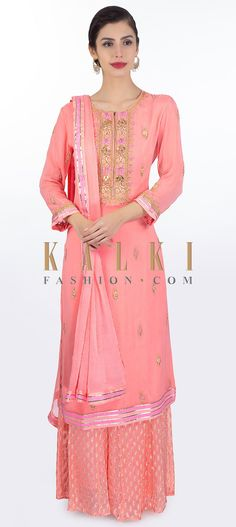 Buy Online from the link below. We ship worldwide (Free Shipping over US$100) Click Anywhere to Tag Pink georgette suit paired with matching weaved palazzo and chiffon dupatta only on Kalki Pink georgette suit in resham, zardosi, zari and moti floral embroidered butti densely on the neckline and placket .Comes with a pink georgette palazzo in weaved butti .Paired with a matching chiffon dupatta with lace border. Palazzo Suit, Lace Border, Straight Cut, Salwar Kameez, Designer Dresses, Festive, Chiffon, Neckline, Celebrity