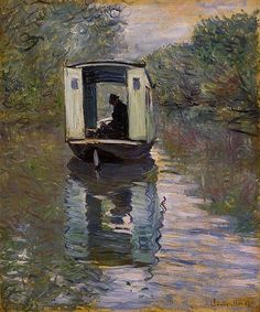 I had never seen this before.  Love it - would love to be there... It looks so quiet.  Claude Monet, The Boat Studio, 1876