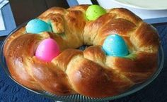 There are many recipes for this sweet bread. The almonds are not necessary. You can also add raisins.