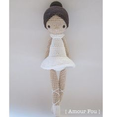 Paloma the Ballerina Crochet Pattern by Amour Fou Knitted Dolls, Crochet Dolls, Crochet Baby, Half Double Crochet, Single Crochet, Crochet Doll Tutorial, Knitting Patterns, Crochet Patterns, Crochet Stitches For Beginners