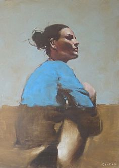 """""""Blue"""" - Michael Carson (b. 1972), oil on canvas {figurative art female body seated woman profile cropped expressionist painting}"""