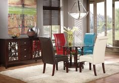 Cindy Crawford Home Highland Park Ebony 5 Pc Dining Room w Brown Chairs   - Dining Room Sets