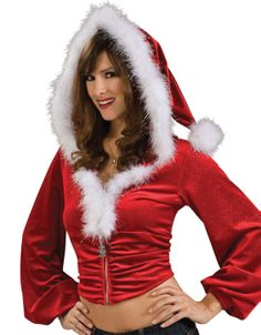 Womens Santa Hoodie - red hooded crop christmas jacket with furry white trim 685196a64