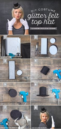 DIY Costume Glitter Felt Top Hat Tutorial from MichaelsMakers Lia Griffith