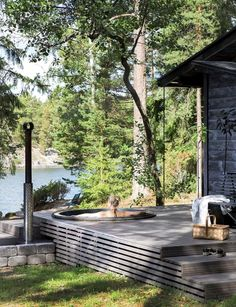 Outdoor Spaces, Outdoor Living, Cabins In The Woods, Pool Houses, Backyard Landscaping, Backyard Pools, Pool Decks, Exterior Design, Outdoor Gardens