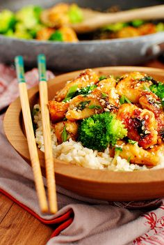 Lighter Sesame Chicken from iowagirleats.com | foodiecrush.com