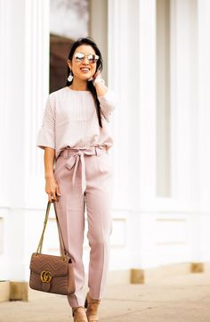 cute & little | dallas petite fashion blog | express striped cocoon top, express blush pink sash tie pants, nude strappy sandals | spring office work outfit - Blush Neutrals for Springtime Office Outfit by popular Dallas petite fashion blogger cute & little