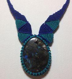 Labradorite Pendent Gemstone Macrame Necklace  on Etsy, $50.00