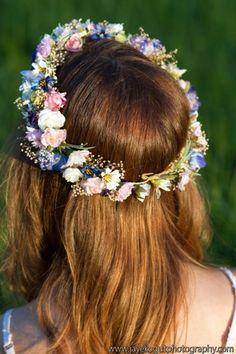 Dried flower hair wreath Bridal Wedding Flower Crown circlet halo pink
