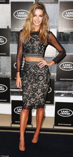 Lovely in lace: Jennifer Hawkins sure knew how to turn heads at the launch for the new Lan...