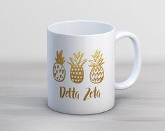 DZ Delta Zeta Faux Gold Foil Pineapple Mug // Sorority Coffee Mug by UptownGreek on Etsy https://www.etsy.com/listing/457563510/dz-delta-zeta-faux-gold-foil-pineapple