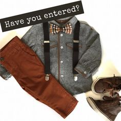 Want this adorable fall bow tie set?? Checkout the giveaway in the last post! • Bow tie and suspenders - Mini Swag Shirt, pants and shoes…
