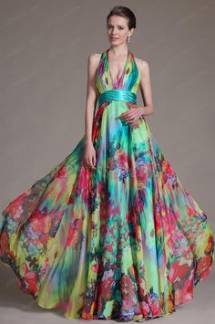 eDressit 2014 New Printed Halter V-neckline Evening Dress Prom Gown (00091812)