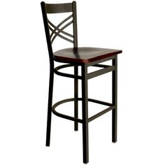 Akrin Metal Cross Back Restaurant Bar Stools with Wood Seat - These attractive BFM Seating commercial bar stools feature a sturdy metal frame and a beautiful wood seat. Each cross back bar stool is available with a sand black finish and black, cherry, mahogany, natural and walnut solid wood seat finish options to easily accommodate your restaurant decor.  [2130B-SBW]