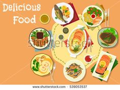 Popular meat and fish dishes for lunch icon of baked pork with vegetables, salmon in cream sauce, chicken roll with ham, meatball, salmon roll with rice, grilled pork loin, fried anchovy and trout