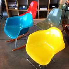 New fiberglass chairs by Modernica at Just Modern!  Love the colors!