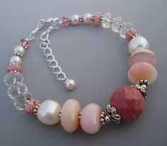 SALE Was 48.99 Pink Opal Rhodonite Gemstone Sterling Bracelet