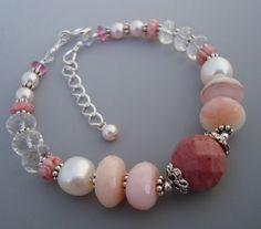 Pink Opal Rhodonite Gemstone Sterling Bracelet