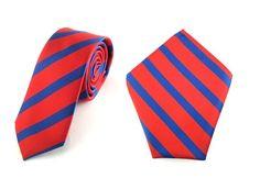 Mens 6cm Maroon Red Navy Blue Stripes Skinny Tie Pocket Square.