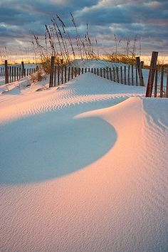 Dunes at sunset in the Outer Banks of North Carolina. Cape Hatteras beach | http://ilovebeautifulbeaches.blogspot.com