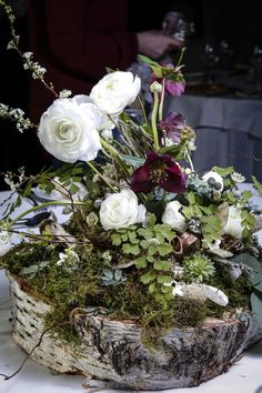 65 Greenery Woodland Moss Wedding Ideas a lush woodland wedding centerpiece with moss, deep purple and white blooms and greenery. Wedding Table Centerpieces, Flower Centerpieces, Wedding Decorations, Wedding Ideas, Centrepieces, Centerpiece Ideas, Wedding Favors, Wedding Events, Wedding Invitations