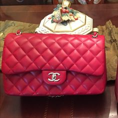 Limited authentic red Chanel lambskin double flap Limited red Chanel 13 C hard to find double flap in excellent condition just surface scratch on inside of flap text me for better price otherwise firm on posh 803517-4525 this is a gorgeous red all season comes w box and dust bag plus authenticity card CHANEL Bags Crossbody Bags