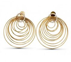 Ripple Effect 18k rose gold circle earrings accented with over half a carat of diamonds