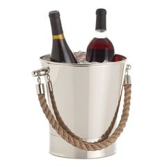 Come sail away and toast nautical style with this polished nickel container.  Perfect for keeping bubbly on ice, the jute rope handles keep the mood classy but casual.