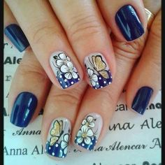 Do you love nail art? Colorful Nail Designs, Nail Art Designs, Love Nails, Pretty Nails, Butterfly Nail Art, Accent Nails, Black Nails, French Nails, Nail Care