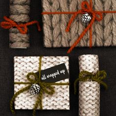 Knitted Gift Wrap Set by Bread & Jam, the perfect gift for Explore more unique gifts in our curated marketplace. Holiday Gift Guide, Holiday Fun, Holiday Gifts, Festive, Gift Wrapping Paper, Wrapping Ideas, Wrapping Papers, Christmas Time Is Here, Craft Gifts